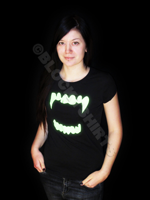 Glow in the dark vampire  teeth women's t-shirt
