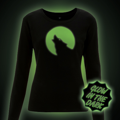 Glow in the dark Wolf in the Moonlight Long Sleeve T-Shirt
