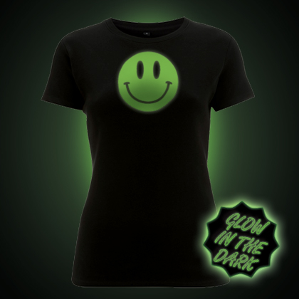 Glow in the dark Smiley Face women's t-shirt.