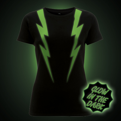 Glow in the dark lightning strikes women's t-shirt