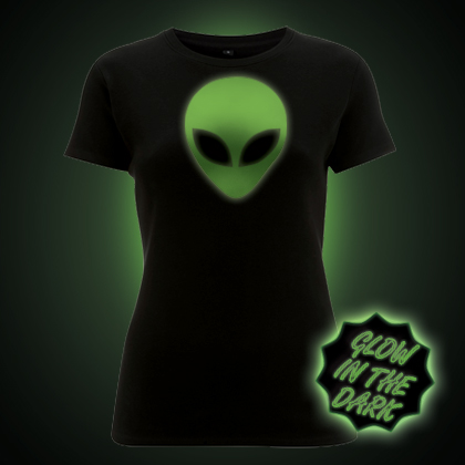 Glow in the dark Alien Head women's t-shirt
